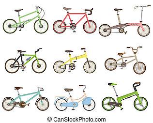 vélo, dessin animé, icône