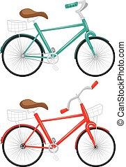 vélo, dessin animé, illustration