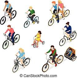 vélo, ensemble, caractère, cavaliers