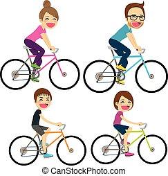 vélo, famille, heureux