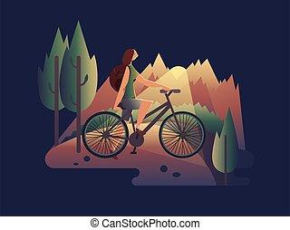 vélo, girl, coucher soleil