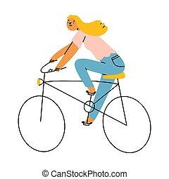 vélo, girl, illustration, vecteur