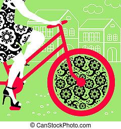 vélo, girl, silhouette, beau