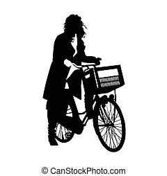 vélo, girl, vecteur, beau