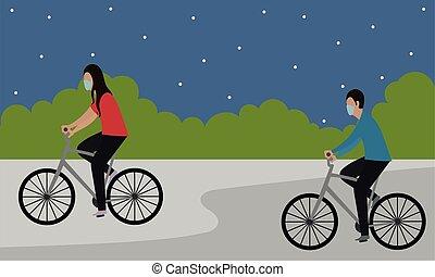 vélo, homme, équitation, femme