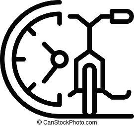 vélo, icône, loyer, temps, contour, style
