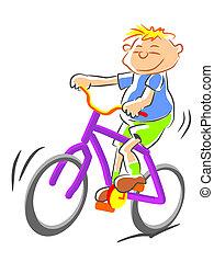vélo, illustration, gosse