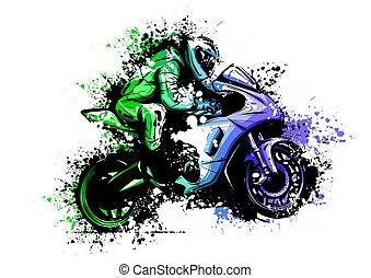 vélo, moto, sky., motorbilker, scooter, vue, isolé, illustration, coureur, vecteur, équitation, fond, nuit, logo, mâle, côté, casque, homme