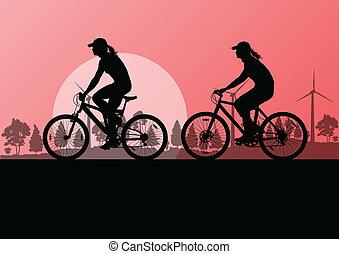 vélo, nature, campagne, illustration, vecteur, cyclistes, fond, actif, cavaliers, paysage