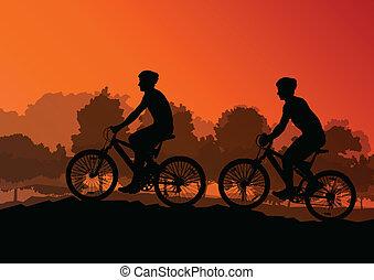 vélo, nature, cyclistes, actif, vecteur, illustration, fond, sauvage, cavaliers, paysage, forêt