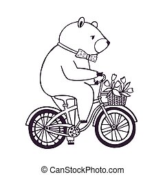 vélo, ours, dessin animé, arrière-plan., flowers., illustration, panier, blanc, contour