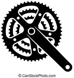 vélo, pignon, roue dentée, crankset, vecteur, symbole