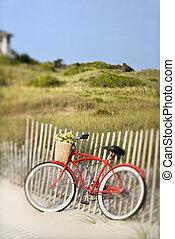 vélo, plage.
