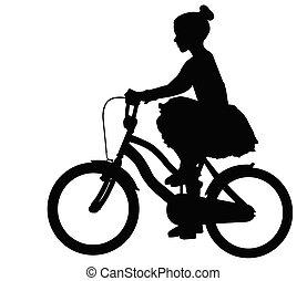 vélo, robe, équitation, silhouette, girl, peu