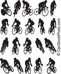 vélo, silhouette, courses, détail, 20
