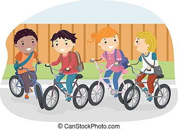 vélo, stickman, étudiant, gosses
