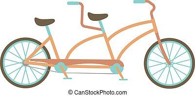 vélo, tandem, vecteur, illustration.
