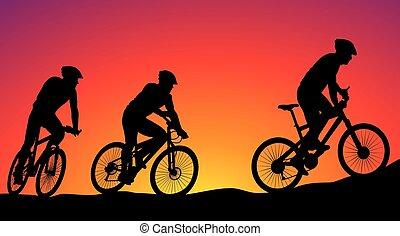 vélo tout terrain, -, vecteur, course