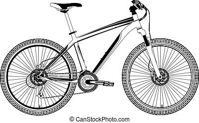 vélo, vecteur, montagne