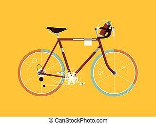 vélo, vecteur, sport, dessin animé, illustration