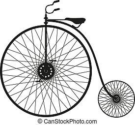vélo, vieux, silhouette