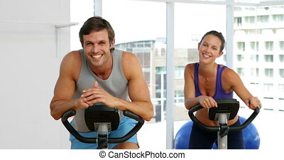 vélos, couple, crise, exercisme, f