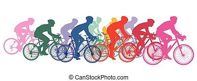 vélos, courses, cyclistes, groupe, cyclisme