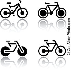 vélos, ensemble, -, transport, icônes
