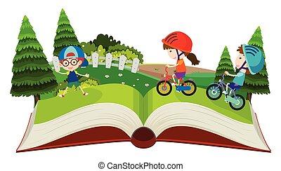 vélos, haut, pop, livre, équitation, enfants