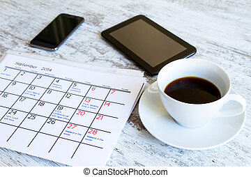 vérification, activités, mensuel, calendrier