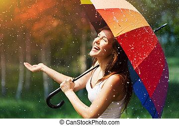 vérification, femme, parapluie, rire, pluie
