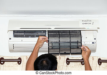 vérification, filtre, condition, air