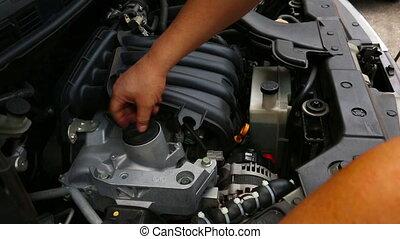 vérification, moteur voiture, fluide