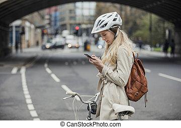 vérification, notifications, elle, téléphone