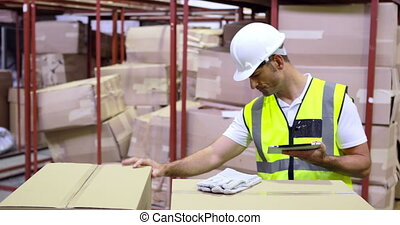 vérification, ouvrier, entrepôt, boîtes