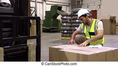 vérification, ouvrier, entrepôt, carton