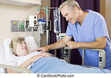 vérification, patient, haut, docteur