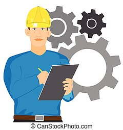 vérification, presse-papiers, ingénieur