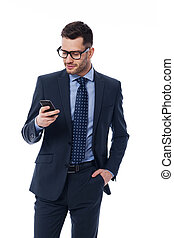 vérification, téléphone, beau, email, homme affaires