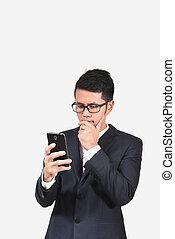 vérification, téléphone, email, homme affaires