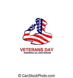 vétérans, typographie, armée, novembre, jour, simple, salut, drapeau, américain, vecteur, illustration, 11ème