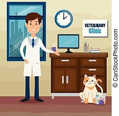 vétérinaire, caractère, docteur, mascotte