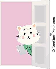 vétérinaire, porte, doc., illustration, chat, rendez-vous