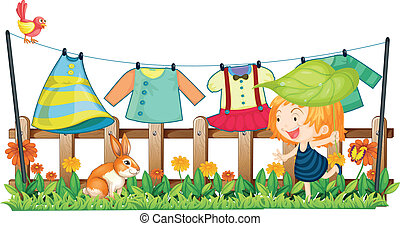 vêtements, enfant, lapin, pendre