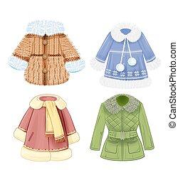 vêtements, ensemble, hiver, enfants