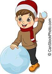 vêtements, garçon, boule de neige, hiver, peu, jouer, mignon