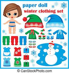 vêtements, set., papier, hiver, poupée