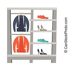 vêtements, vecteur, chaussures, illustration, étagères