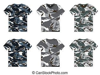 v-cou, militaire, hommes, t-shirts