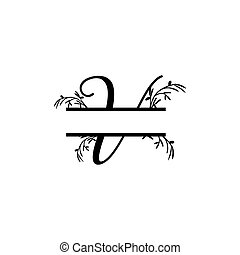 v, plante, initiale, vecteur, monogram, fente, lettre, décoratif